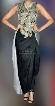Fashionable Silver Black Dress