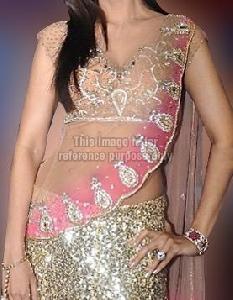 Shilpa Shetty Glitter Pink Saree
