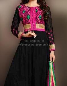 Black Anarkali Suit with Net Sleeves